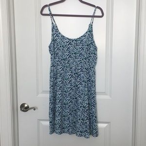 Dress with white, green, and blue flowers-LARGE